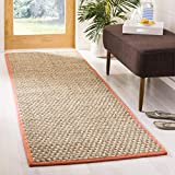 Safavieh Natural Fiber Collection NF115A Herringbone Natural and Beige Seagrass Runner (2'6