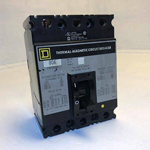 - Square D FAP34080 80A Circuit Breaker 480 VAC 3 Pole Type FAL FAP-34080 80 Amp