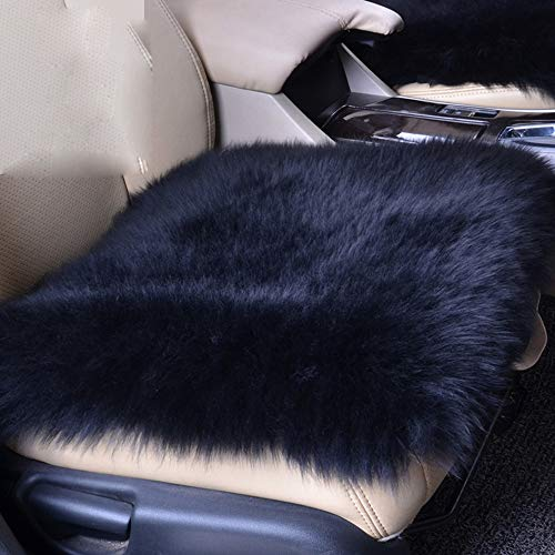 Wool Car Interior Seat Cover, U&M Fluffy Faux Sheepskin Seat Cushion Pad Winter Mat Universal Fit for Comfort in Auto, Plane, Office, or Home(18 Inch X 18 Inch)