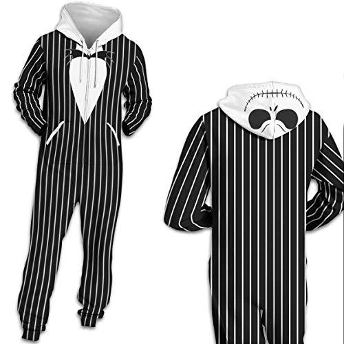 Leezeshaw Unisex 3D Black Jack Printed Long Sleeve Hooded Onesie Jumpsuit All in One Piece Pyjamas Nightwear Costumes