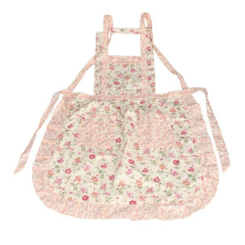 (niceEshop Stylish Rose Flower Pattern Women Chefs Cooking Cook Apron Bib with Pockets,Pink)