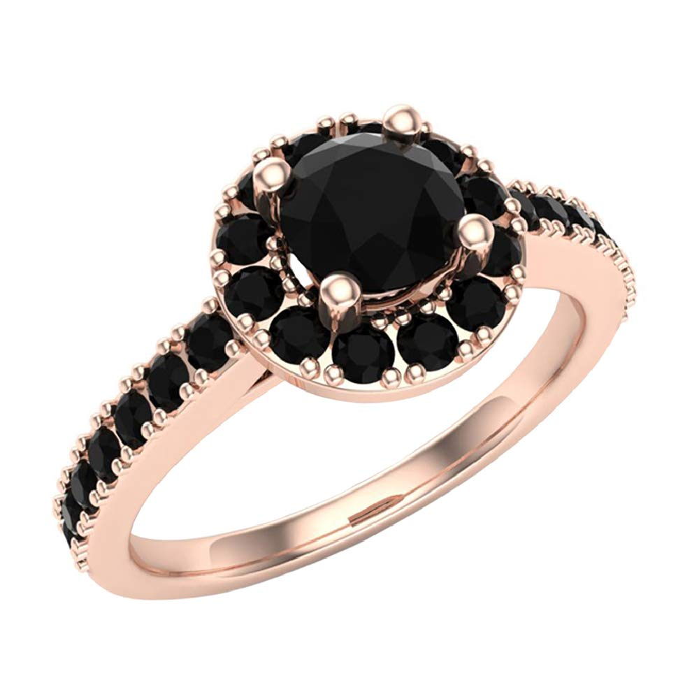 Black Diamond Halo Ring 1 Carat Total Weight 14K Rose Gold (Ring Size 6)