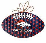 NFL Denver Broncos Corrugated Metal Football Door Decor, Small, Multicolored