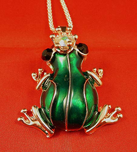 - Rose Gold Plated Green Enamel Crystal Crown Frog Pendant Chain Necklace