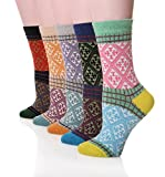 Dosoni Women's Vintage Style Knitting Warm Winter Socks 5-Packs (Check)