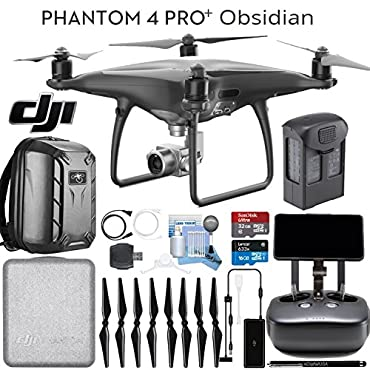 DJI Phantom 4 Pro+ Obsidian Quadcopter Drone, Remote with Built in Screen & Hard Shell Backpack Bundle