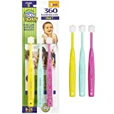 Brilliant Baby Toothbrush by Baby Buddy - For Ages 4-24 Months, BPA Free Super-Fine Micro Bristles Clean All-Around Mouth, Kids Love Them, Pink-Mint-Yellow, 3 Count
