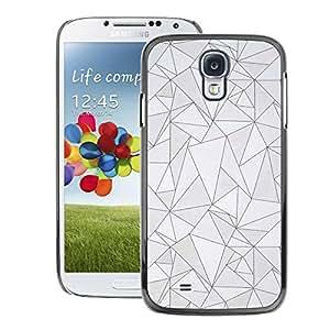 A-type Arte & diseño plástico duro Fundas Cover Cubre Hard Case Cover para Samsung Galaxy S4 (Pattern Black Lines Poly Art Grey Abstract)