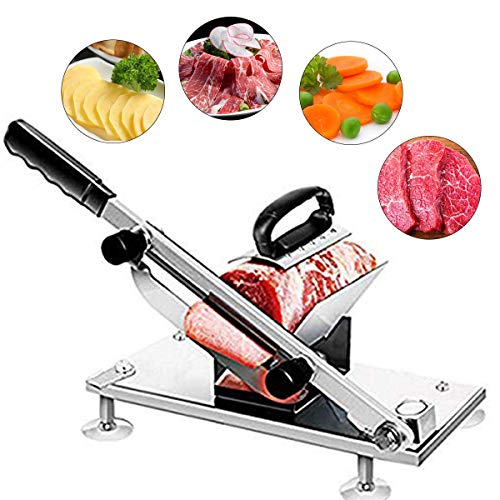 - Frozen Meat Slicer Hand Slicing Machine Stainless Steel Frozen Beef Mutton Bacon Meat cutter Vegetable Fruit meat cleaver for Home Kitchen and Commercial Use (Sliver)