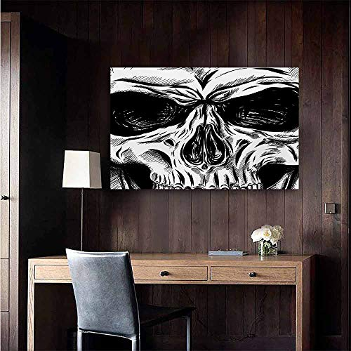 duommhome Halloween Chinese Classical Oil Painting Gothic Dead Skull Face Close Up Sketch Evil Anatomy Skeleton Artsy Illustration for Living Room Bedroom Hallway Office 47