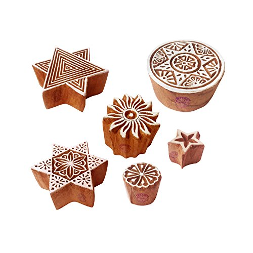 (Clay Printing Stamps Exclusive Star Round Design Wood Blocks (Set of 6))