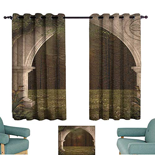 Gothic,Decorative Curtain Old Retro Arch in The Garden Renaissance Meadow Forest Dark Scary Design Image 42