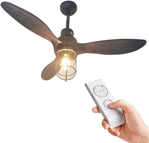 DUOER home Ventilador de Techo Industrial Vintage Luz Ventiladores ...