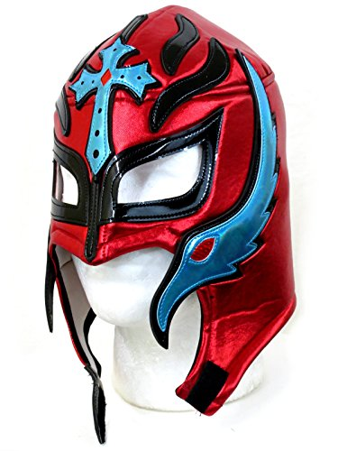 Rey Mysterio Blue Costume (Rey Mysterio Adult Lucha Libre Wrestling Mask - Red / Light Blue)