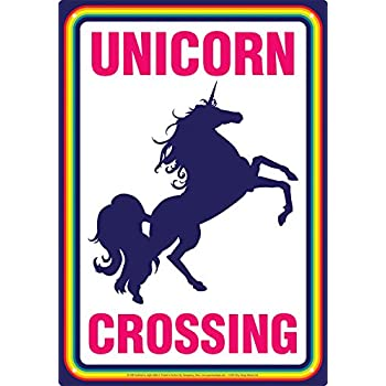 Unicorn Crossing Tin Sign