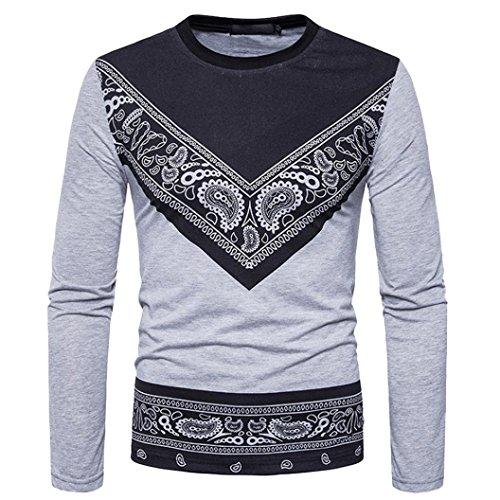 Pervobs Mens Long Shirts, Big Promotion! Men's Autumn African Print Long Sleeved T-Shirt O-Neck Sweatshirts Top Blouse (3XL, Gray)