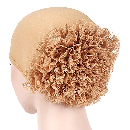CHIDY Women Floral India Hat Muslim Ruffle Pure Color Trend Anti-Hair Loss Cap Beanie Scarf Turban Wrap Cap