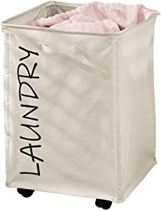 mDesign Fabric Laundry Hamper Basket with Handles, Drawstring Mesh Closure, Wheels - Portable and Foldable for Compact Storage - Single Hamper Design, Novelty Print - Cream/Black Lettering