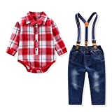 Baby Boy Outfit, Toddler Suspenders Romper Set with Jeans & Romper & Bow Tie