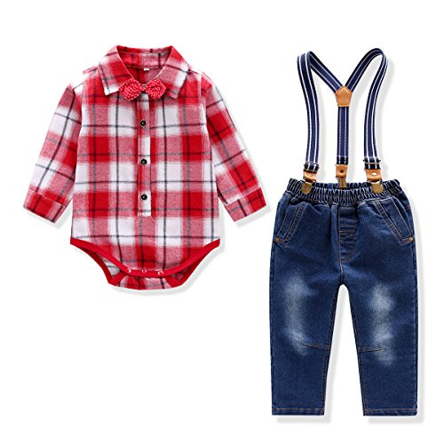 Baby Boy Outfit, Toddler Suspenders Romper Set with Jeans & Romper & Bow Tie Red 12-18 Months (Baby Santa Outfit For Boy)