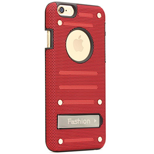 Urcover® Apple iPhone 6 Hülle mit [ Stand-Funktion ] Handyhülle Schutzhülle Back-Case Cover Etui Rot/Schwarz