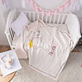 Scientific Sleep Kids Cute Bunny with Crown Muslin Quilt Comforter Thin Bed Coverlet Blanket for Toddler Boys & Girls Crib Bedding Gift, 47' X 59' (Crown)