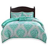 Purple and Teal Twin Bedding Comfort Spaces Coco 3 Piece Comforter Set Ultra Soft Printed Damask Pattern Hypoallergenic Bedding, Twin/Twin XL, Teal-Grey