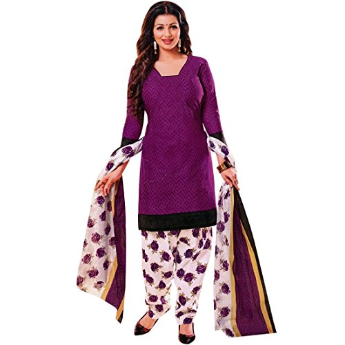 Designer Printed Cotton Salwar Kameez Ready Made Suit Indian Dress – 0X Plus, Purple