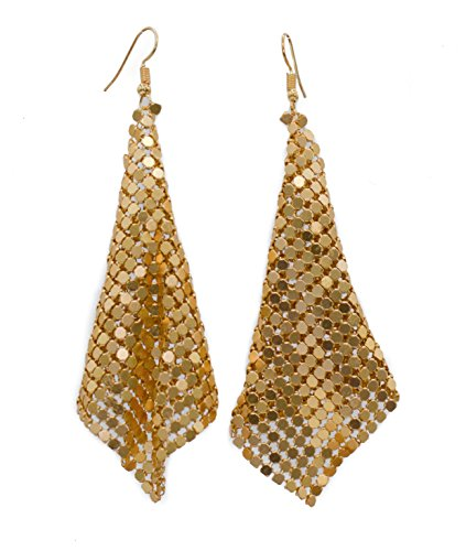 Metal Chandelier Earrings (Mesh Dangle Earrings Available in 3 Colors (Gold, Silver, Black) (gold-plated-base))