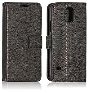TOPQQ Lichee Pattern Leather Case for Samsung Galaxy S5 I9600 , Brown