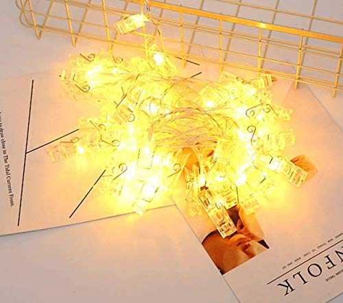 LED Photo Clips String Lights - Magnoloran 30 Photo Clips Battery Powered Fairy Twinkle Lights, Wedding Party Home Decor Lights for Hanging Photos, Cards and Artwork, 10 Feet, Warm White by Magnolora (Image #7)