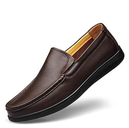 e Mocassini uomo Comfort 44 Suola da Size pelle da Brown Driving Vera lavoro ufficio Morbida 38To leggeri Scarpe da f0vqw5X