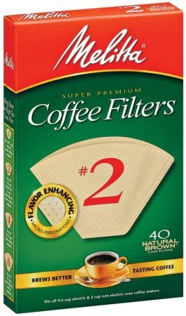 Melitta Cone Coffee Filters, Natural Brown, No. 2, 40 ct (40 Cup Coffee Filters compare prices)