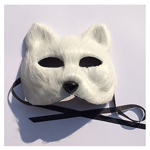 [2pcs Halloween cosplay costume party mask Kids adults fairy tale white fox cat face mask soft fur fox] (Scary Fairy Costumes)