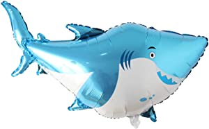 Large Fish Balloons, Foil Shark Lobster Octopus Balloon Sea World Horse Star Birthday Party Decorations Kid Inflatable Toys Wedding Decor (Shark)