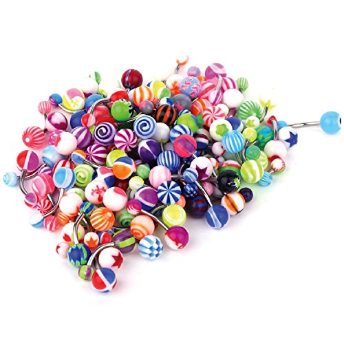 BodyJ4You Assorted Lot of 100 Belly Button Rings 14G (1.6mm) Curved Banana Barbell Navel Piercing Jewelry - Gothic Belly Ring