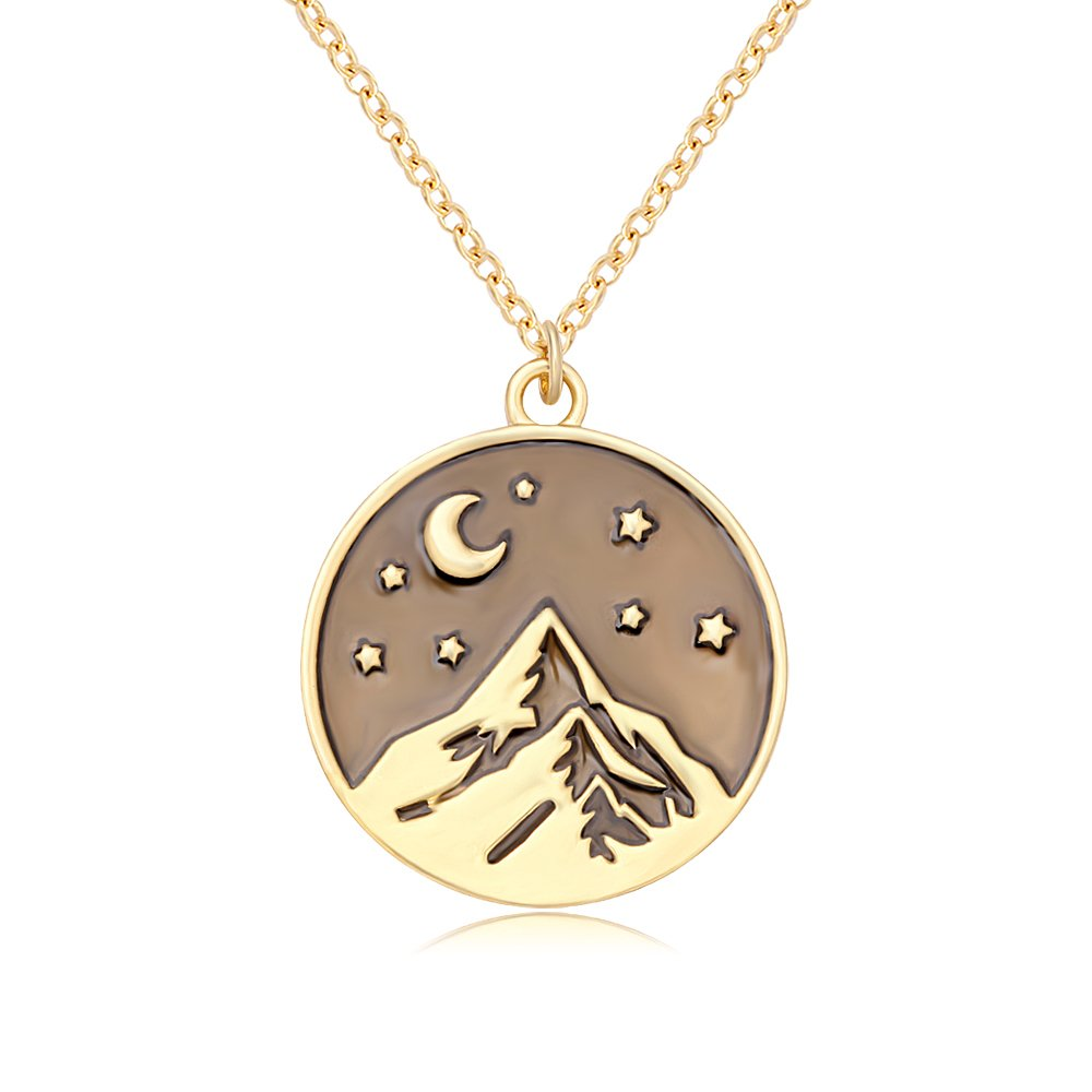 SENFAI Mountain Top Star Half Moon Pendant Necklace for Climbing Hiking Sports Travel Enthusiasts (Gold)