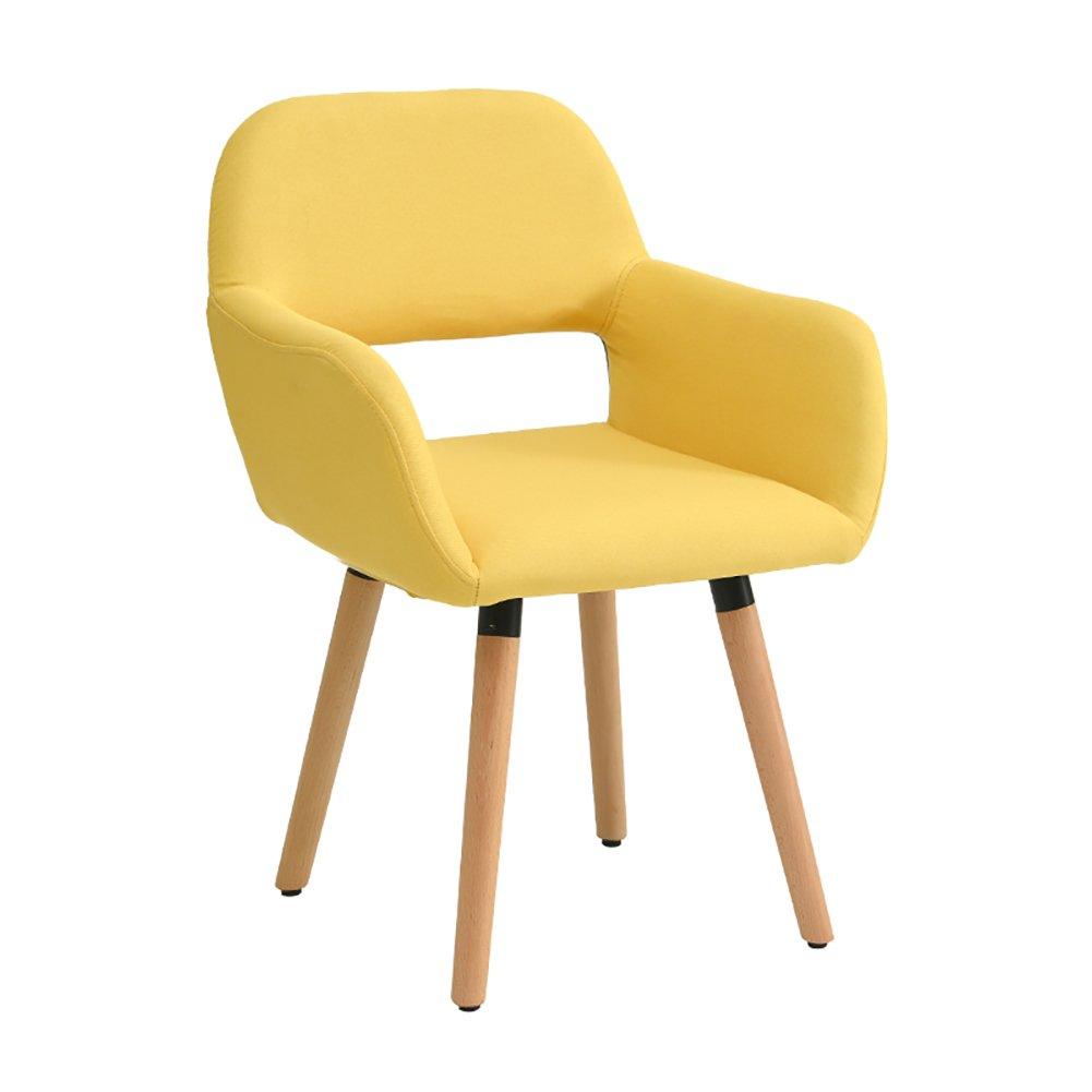 ZJM背もたれの椅子ダイニングチェア中空アームチェアーミュートフットパッドスタディチェアオフィスパッド入りチェア (色 : イエロー いえろ゜, サイズ さいず : Set of 3) B07F6CV1C6 Set of 3|イエロー いえろ゜ イエロー いえろ゜ Set of 3