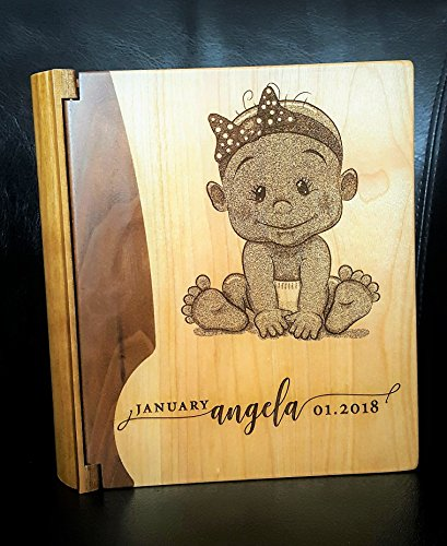 - LoveToCreateStamps Personalized Wood Cover Photo Album Baby Girl EngravedSensations | Baby Photo Album Girl | Baby Memory Book | Baby Photos Album, Style 130 (Maple & Walnut Cover Baby Girl)