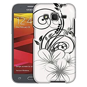 Samsung Galaxy Prevail LTE Case, Slim Fit Snap On Cover by Trek Sketch of a Flower Black on White Case