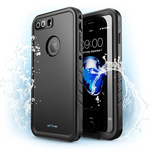 (iPhone 7 Plus Case, NexCase Waterproof Full-body Rugged Case with Built-in Screen Protector for Apple iPhone 7 Plus 5.5 inch 2016 Release (Black))