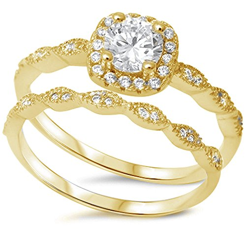 Art Deco Bridal Set Wedding Engagement Ring Round Cubic Zirconia Yellow Tone Plated 925 Sterling Silver