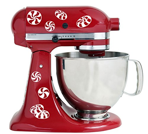 Peppermint Candy White Vinyl Decals for Kitchen Mixers ()