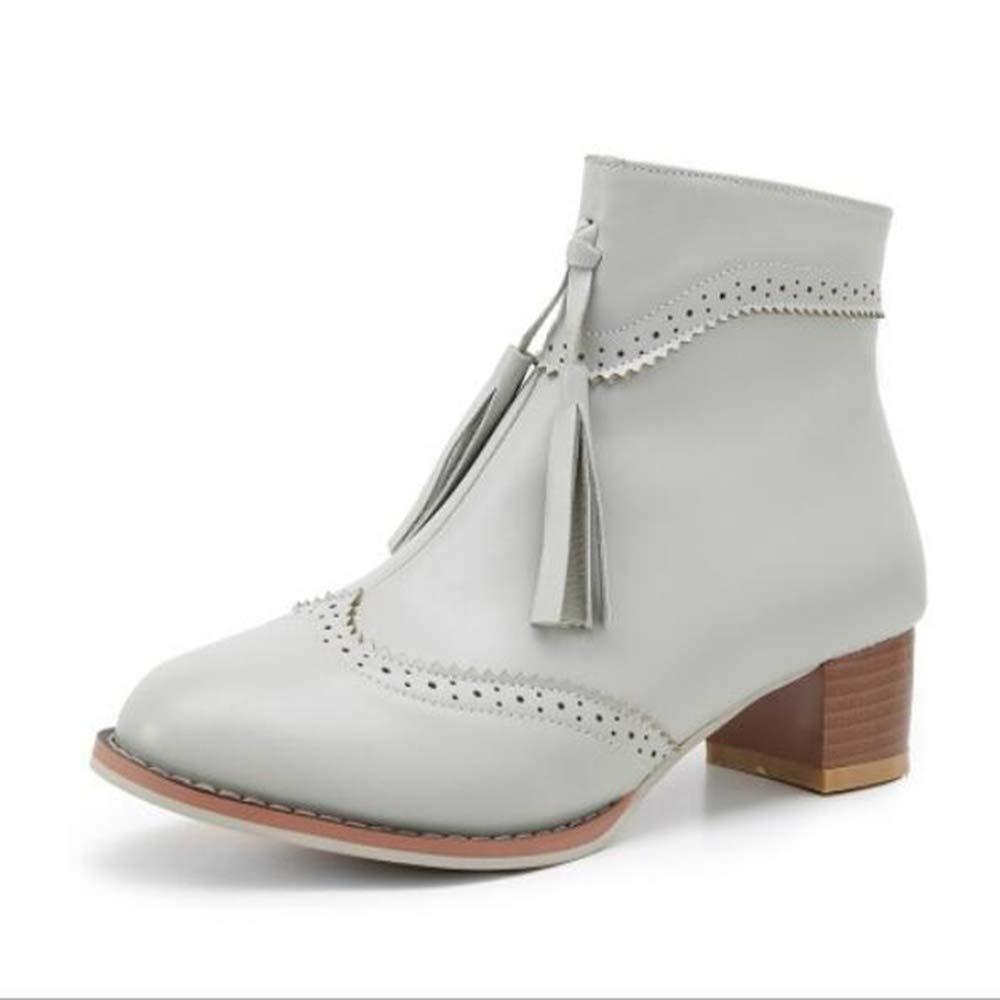 CITW Herbstliche Damenstiefel Brüten Stiefelies Große Damenstiefel Mit Retro-Damen Stiefeln Mode Stiefel,grau,UK5 EUR39
