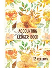 12 Column Accounting Ledger: A Financial Logbook to Record Income and Expenses - Watercolor Flowers on Leather Design