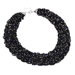 Fashion Multi-colors Chain Water Drop Olivary Yellow Resin Beads Pendant Bib Necklace (Black)