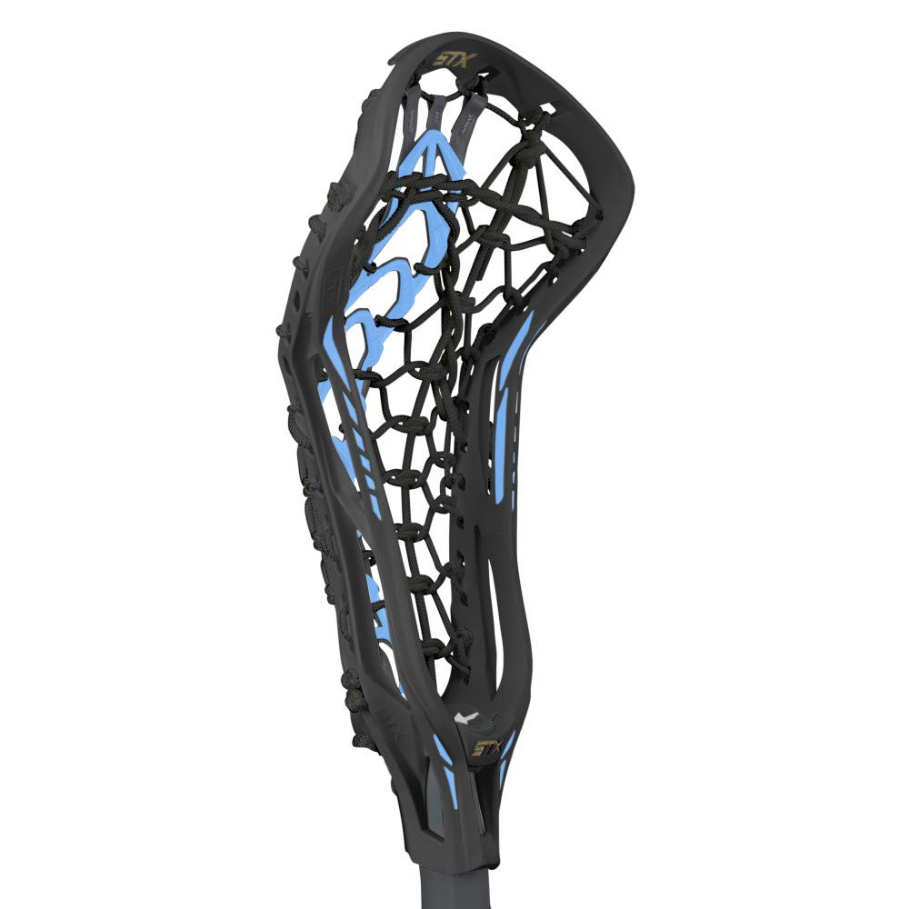 STX Lacrosse Crux 600 Women's Complete Stick with Launch II Pocket, Black/Carolina