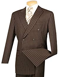 Men's Gangster Pinstriped Double Breasted 6 Button Classic-Fit Suit New