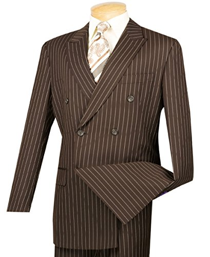 VINCI Men's Gangster Pinstriped Double Breasted 6 Button Classic-Fit Suit New [Color Brown | Size: 48 Regular/43 (Brown Pinstripe Pants)