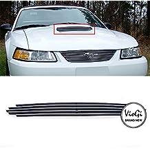 VIOJI New 1pc Overlay Hood Scoop Aluminum Polished Billet Grille w/Hardware+Instruction For 99-04 Ford Mustang GT V8
